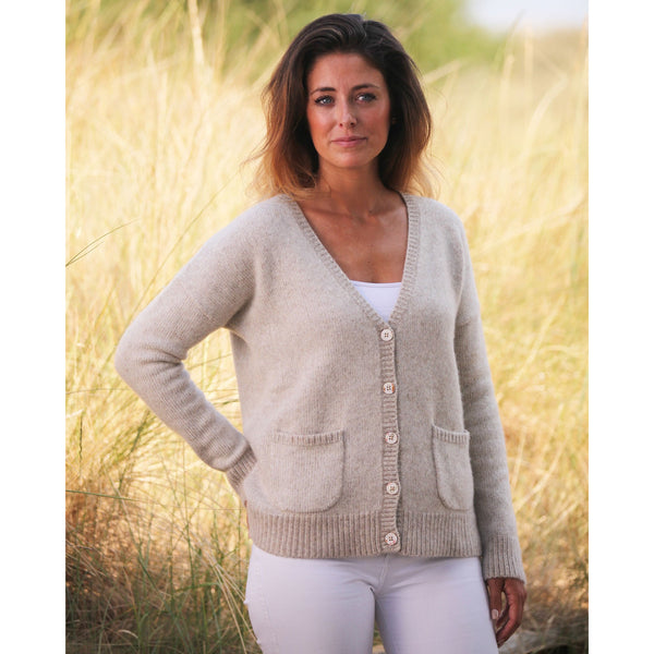 The Burnham Pure Cashmere Colour Twist Cardigan - Kitted in Cashmere