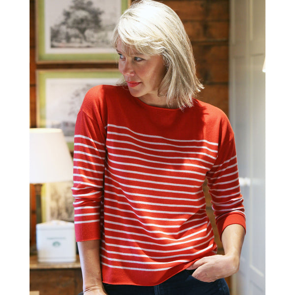 Breton Stripe Fine Cashmere and Wool Crew - Kitted in Cashmere