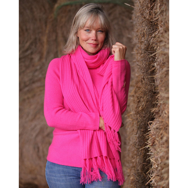 Pure Cashmere Rib Scarf - Kitted in Cashmere