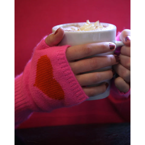 NEW Pure Cashmere Heart Intarsia Handwarmers