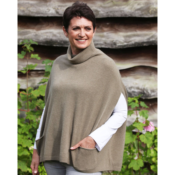 The Roll Neck Cashmere and Wool Poncho Jumper - Kitted in Cashmere