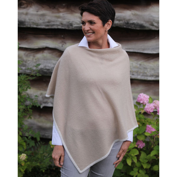 The Cashmere Silk Contrast Edge Poncho - Kitted in Cashmere