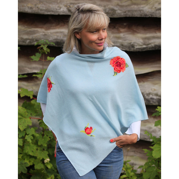 The Rose Intarsia Cashmere and Wool Poncho - Kitted in Cashmere