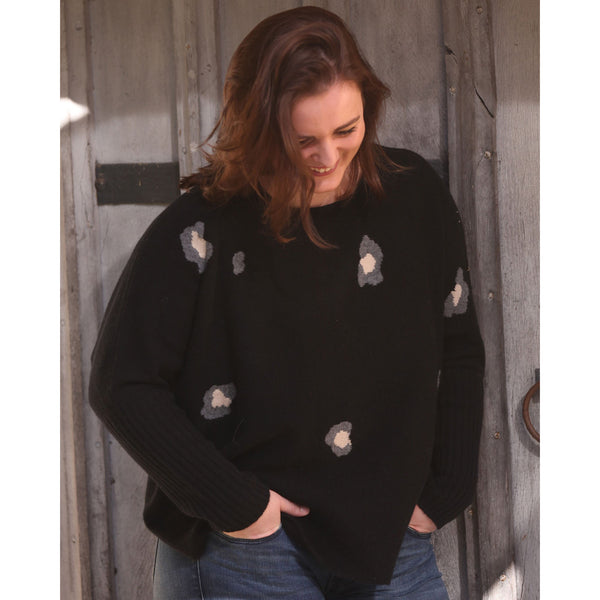The Original Leopard Intarsia Crew with rib cuffs (now available in petite size)