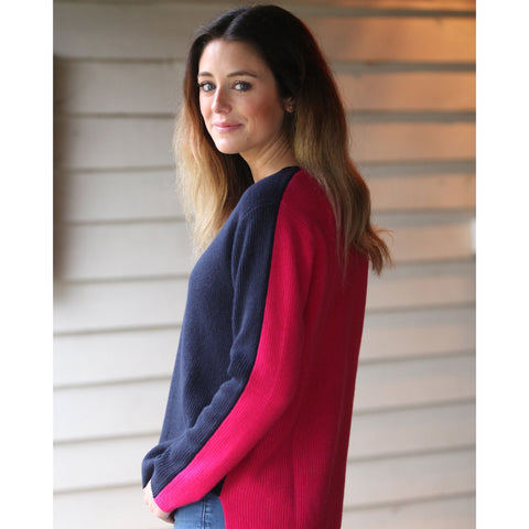 Ascot Two Tone Rib Jumper - Navy Front and Bright Pink Back - Model Wears Petite Size
