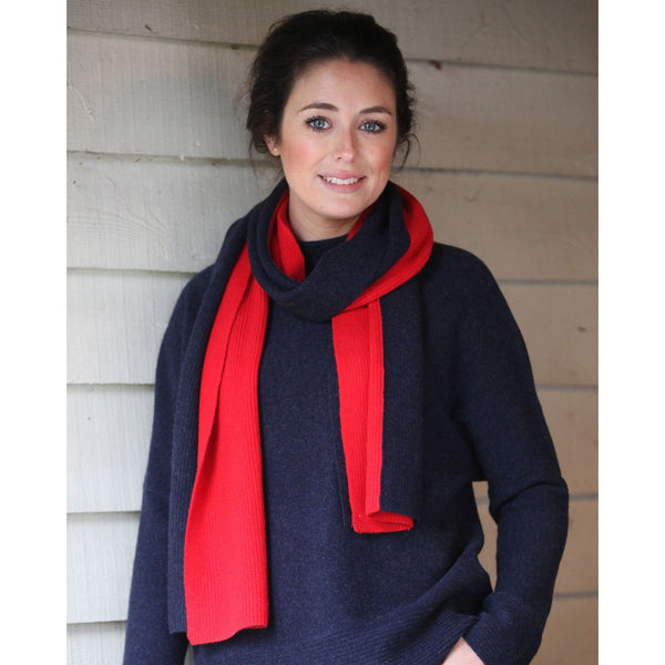 Two Tone Fisherman Rib Scarf - Kitted in Cashmere