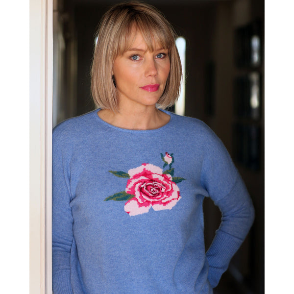 NEW IN The Ramsbury Rose Crew neck - Kitted in Cashmere