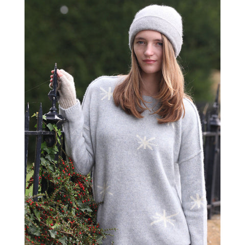 Pure Italian cashmere snowflake intarsia crew neck - Kitted in Cashmere
