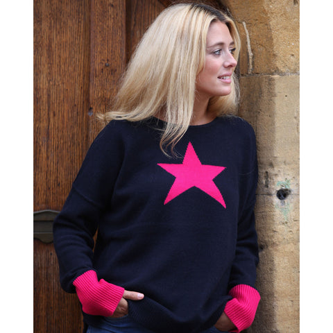 New big star intarsia contrasting cuff jumper - Kitted in Cashmere