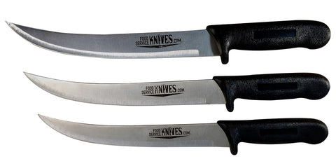 3 Pack - 10 in. Breaking / Butcher Cimiter Curved Blades Black Handles
