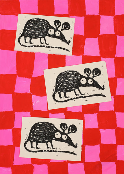 year of the rat block print