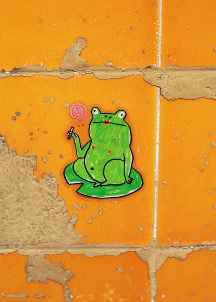 smoke break frog sticker