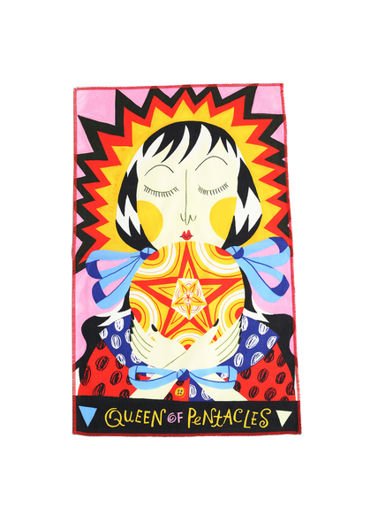 queen of pentacles tea towel
