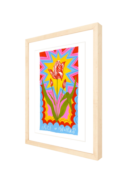 tarot prints (framed in natural wood)