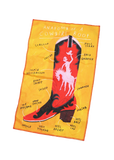 anatomy of a cowgirl boot tea towel
