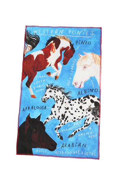 western ponies tea towel