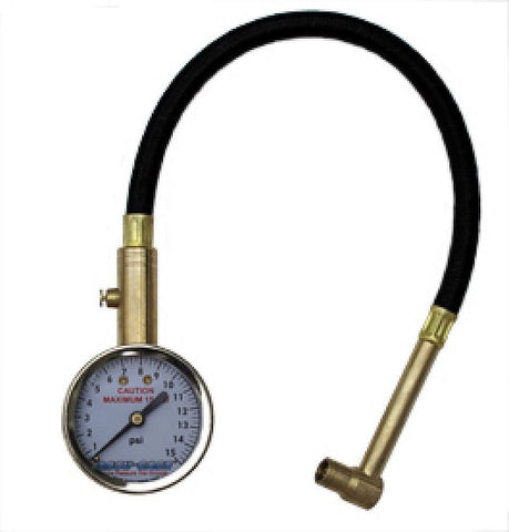 ACCU-GAGE  TRIALS  LOW PRESSURE TYRE GAUGE 0-15PSI WITH AIR BLEEDER & HOSE