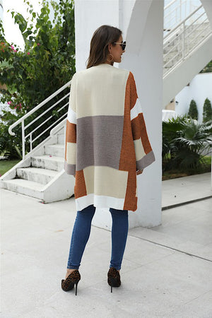 Don't Block My Style Color Block Cardigan (nutmeg/dark taupe)