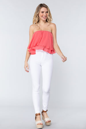 Cropped in Coral Tube Top