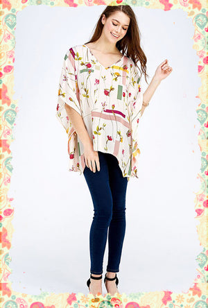 Forms and Florals Poncho Top