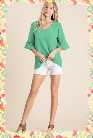 You Brighten My Day Flutter Sleeve Top