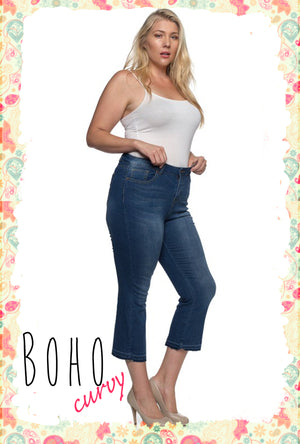 Sometime in Summertime Curvy Cropped Flare Jeans