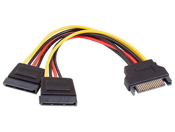 6in SATA 15-pin Male to Two SATA 15-pin Female Power Y Cable