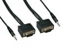 10ft Slim SVGA HD15 M/M Monitor Cable with Stereo Audio