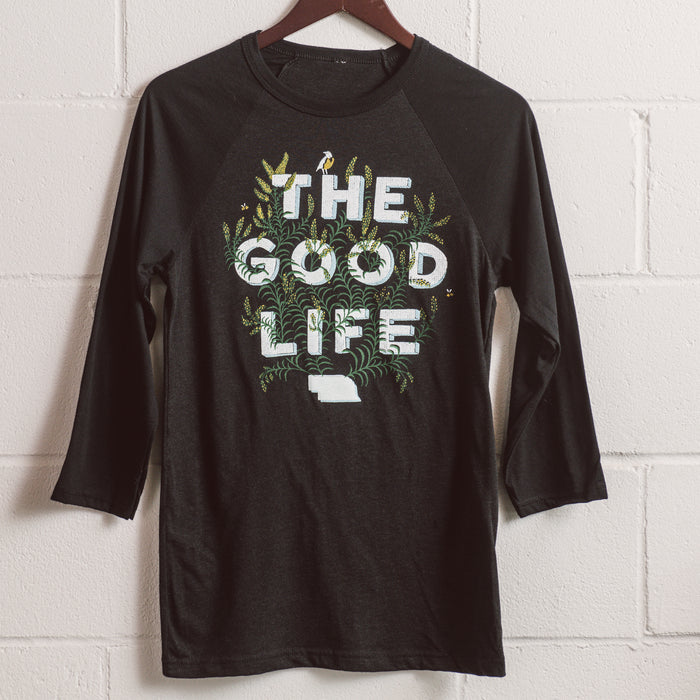 f871404345b Nebraska The Good Life Goldenrod Baseball T - Heather Black