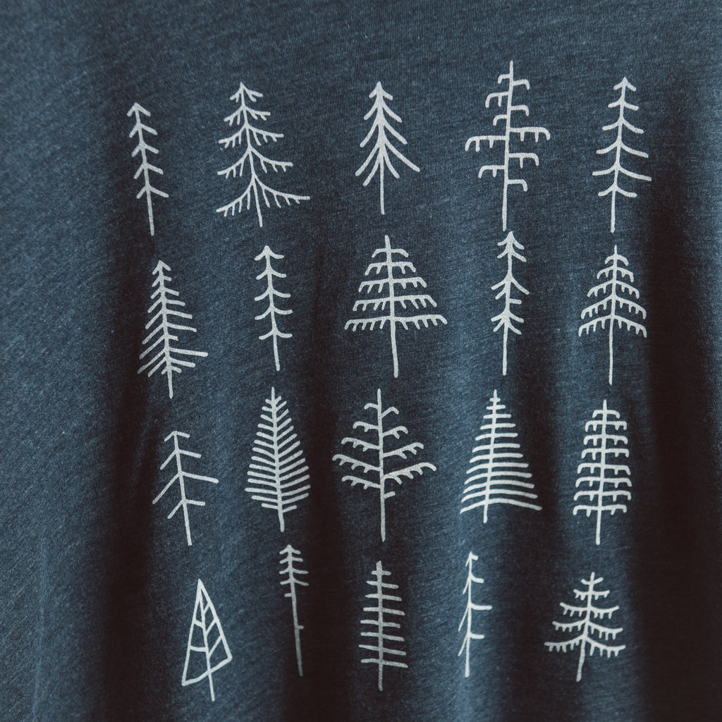 Pine Trees | Heather Blue Long Sleeve