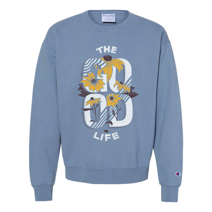 The Good Life Flower Heavy Crewneck - Blue