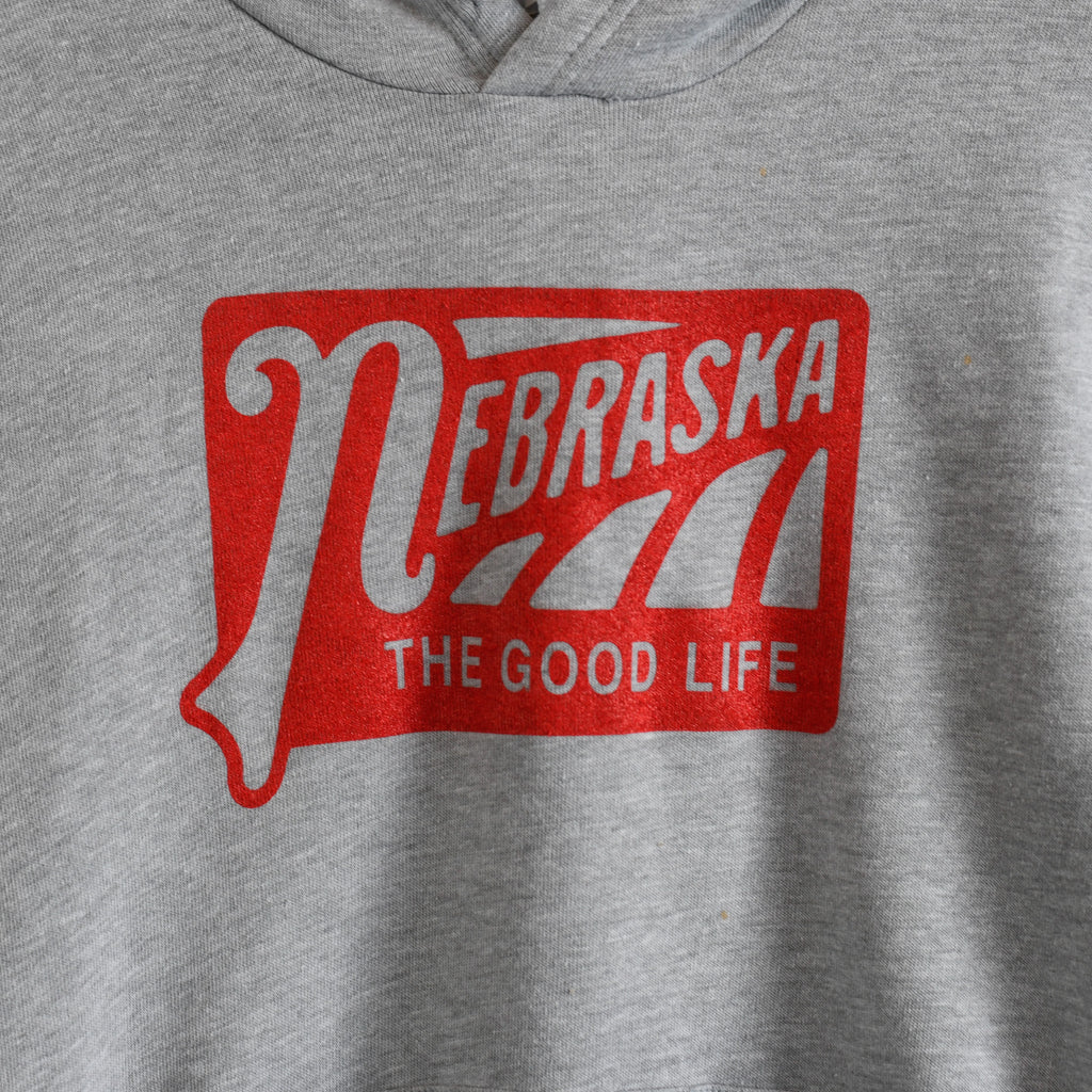 Nebraska The Good Life | Hooded Sweatshirt | Basic Grey
