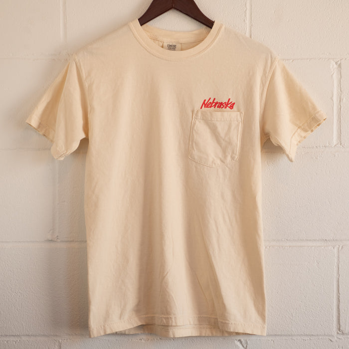 Nebraska Scarlet and Cream Pocket T