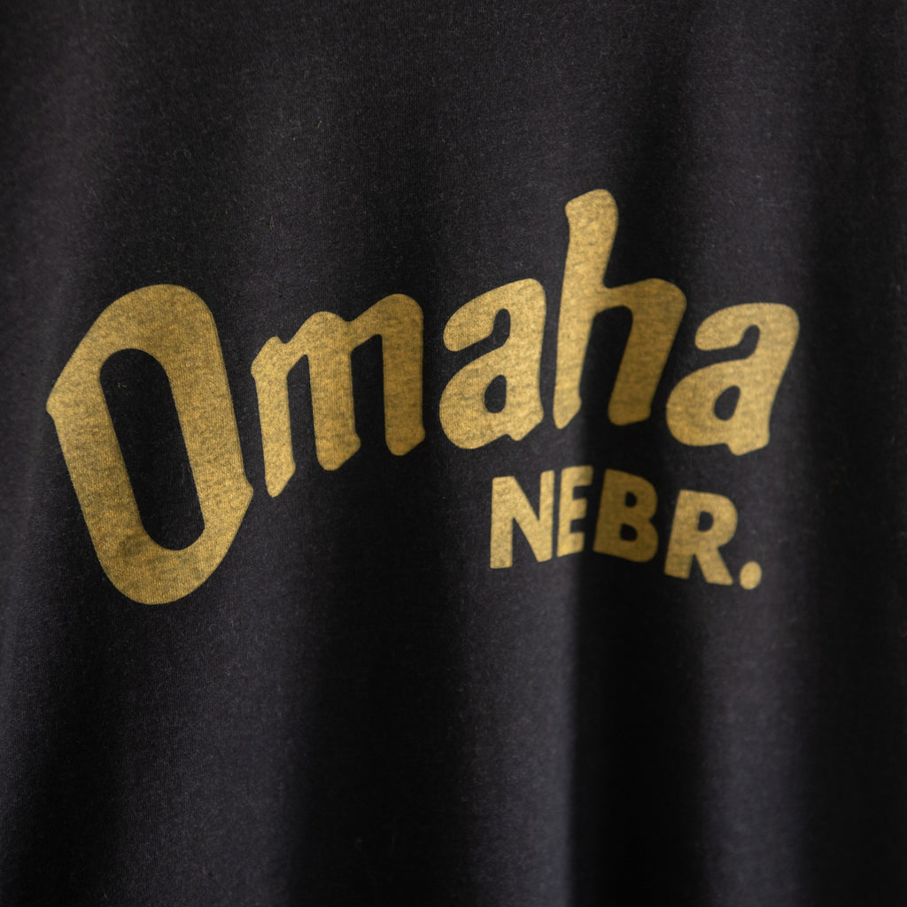 Omaha NE Hooded Sweatshirt Black and Mustard