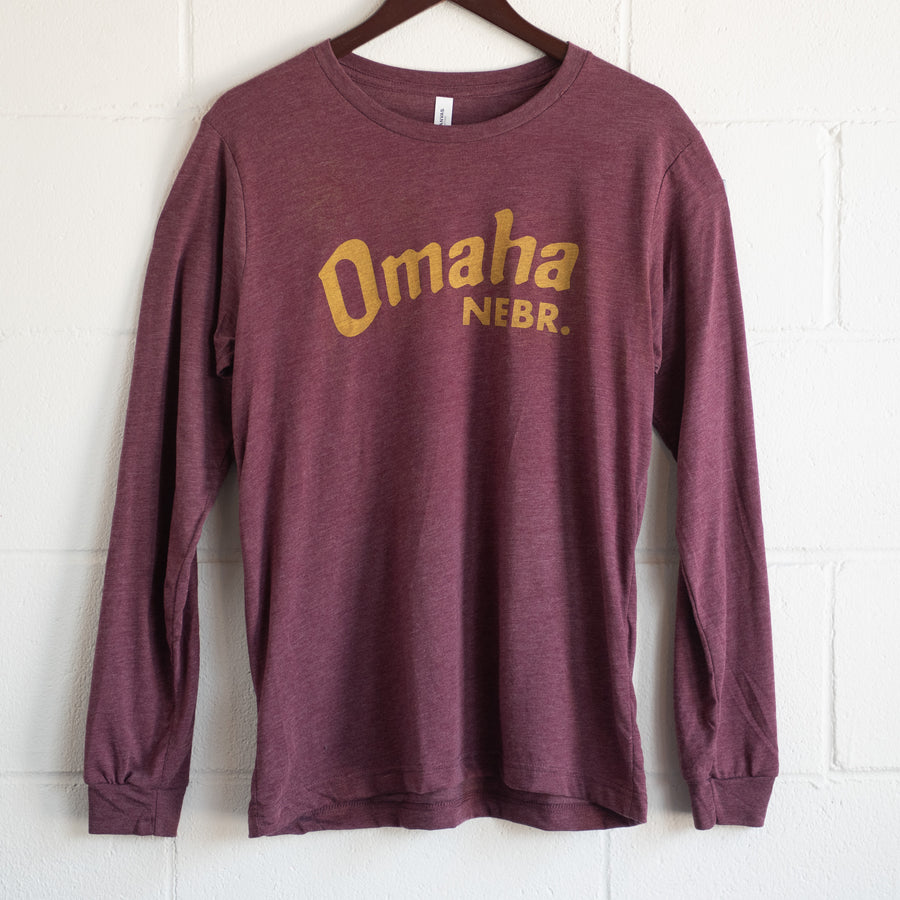 Omaha Nebraska Heather Maroon Long Sleeve