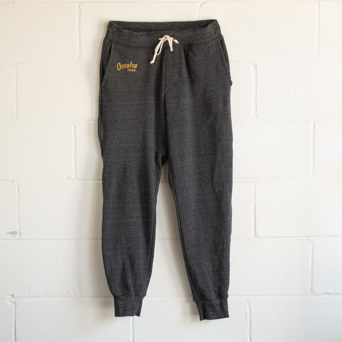 Omaha Nebraska Heather Grey Mens Unisex Eco-Fleece Dodgeball Sweatpants