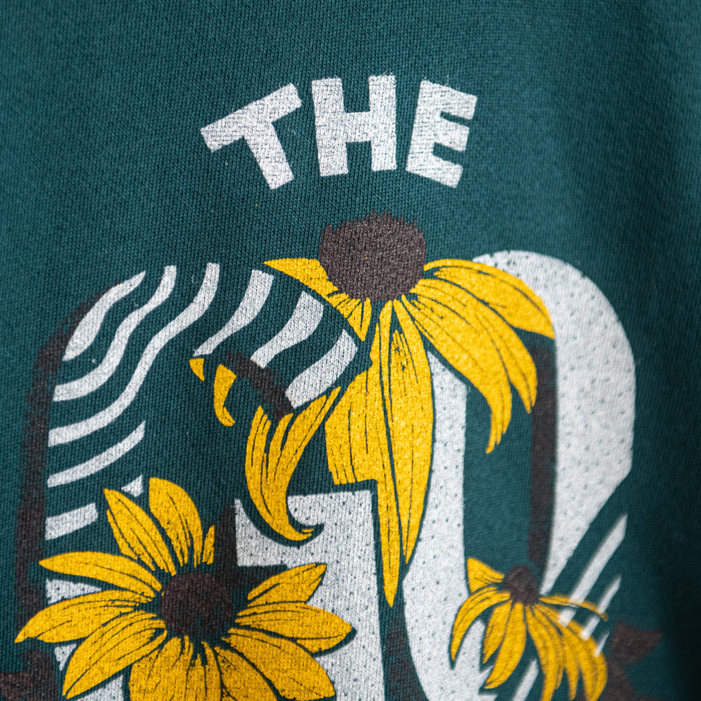 The Good Life Flower Lightweight Crewneck - Dark Teal