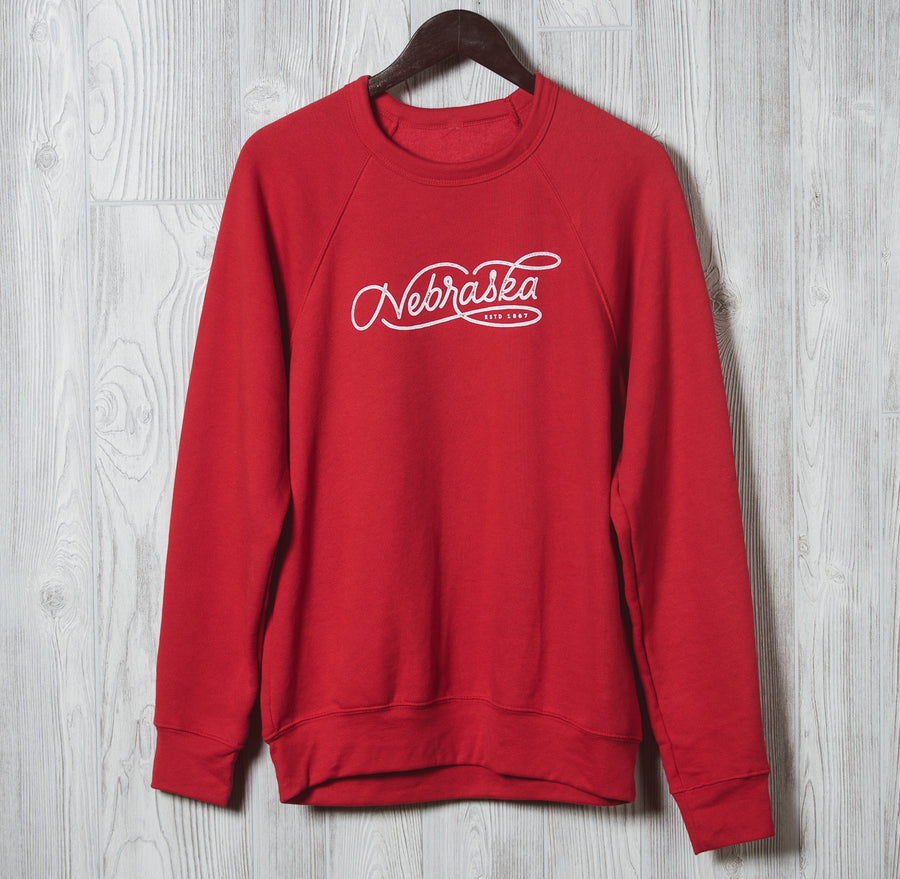 Nebraska Script | Crewneck Sweatshirt | Red