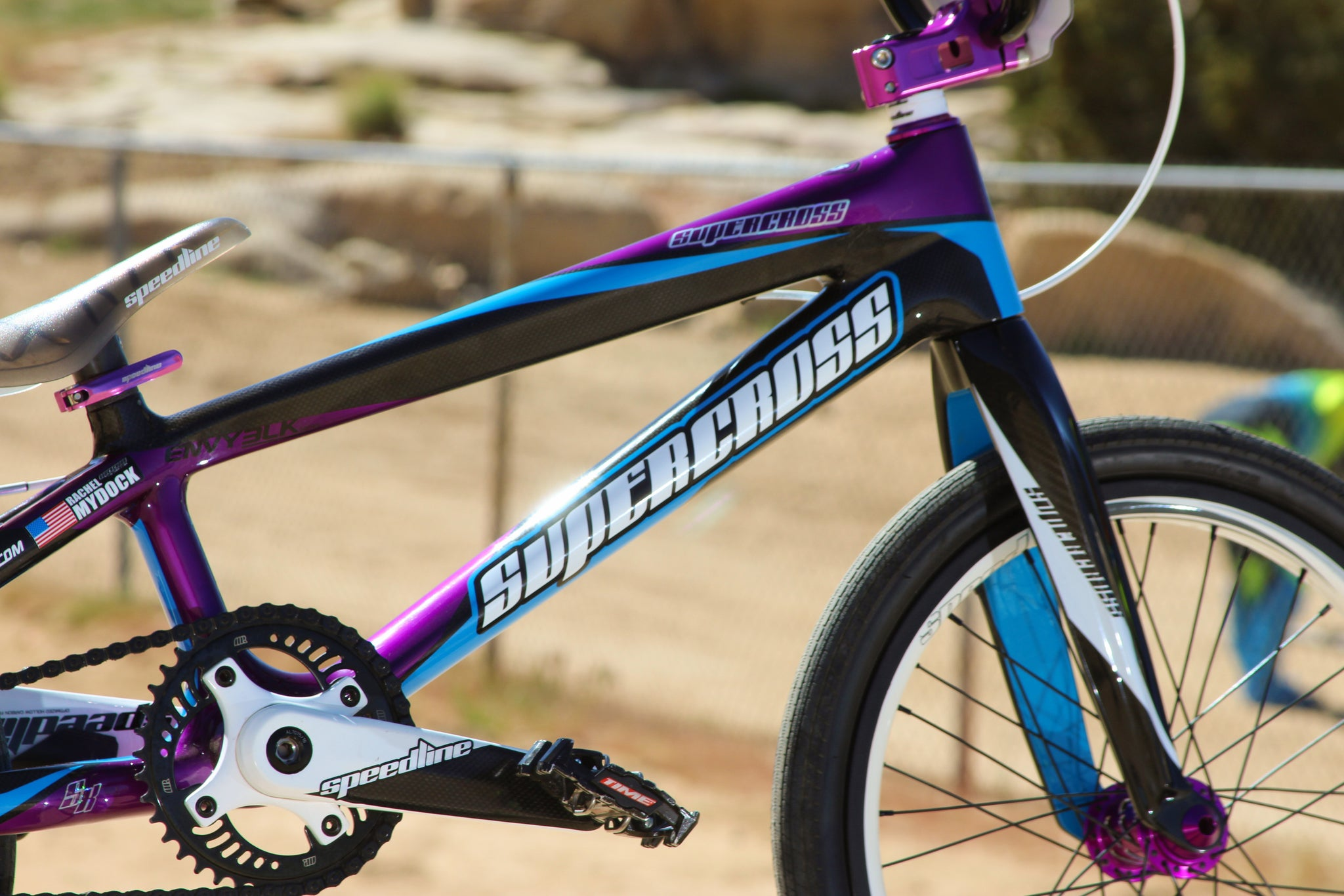 Supercross BMX's Rachel Mydock and her ENVY BLK Carbon Fiber BMX Race Bike