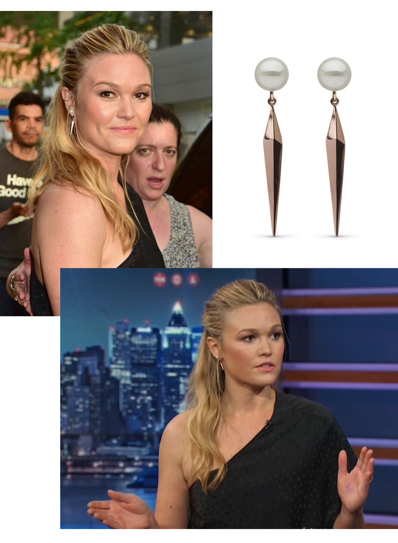 Julia Stiles Pearl Collective Earrings The Daily Show