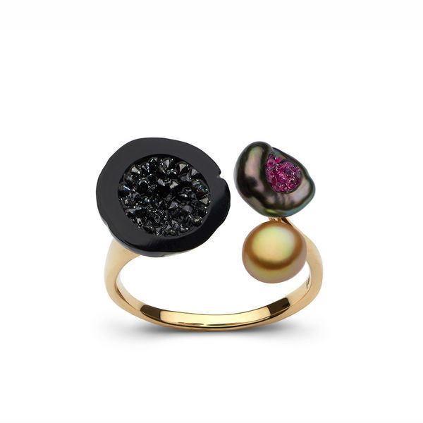 Tahitian 3 Pearl Ring with Black Diamond and Ruby