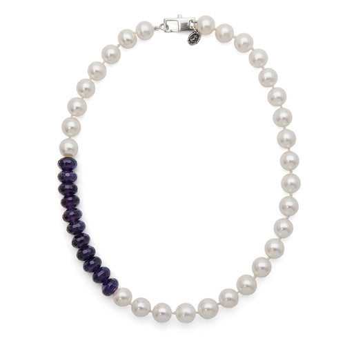 "16"" Amethyst & White Freshwater Pearl Color Block Necklace"