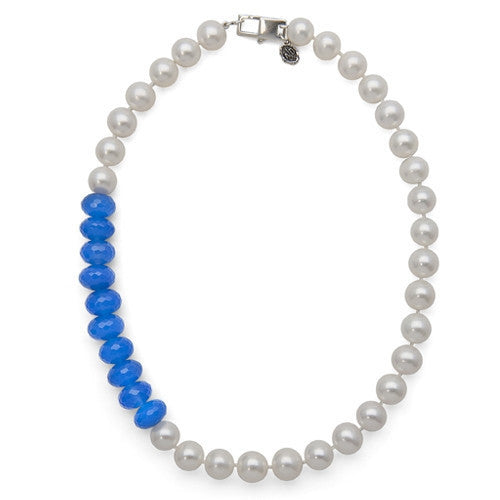 "16"" Blue Jade & White Freshwater Pearl Color Block Necklace"