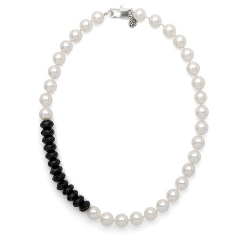 "16"" Black Onyx & White Freshwater Pearl Color Block Necklace"