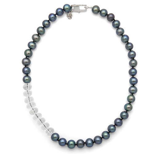 "16"" Crystal Quartz & Black Freshwater Pearl Color Block Necklace"
