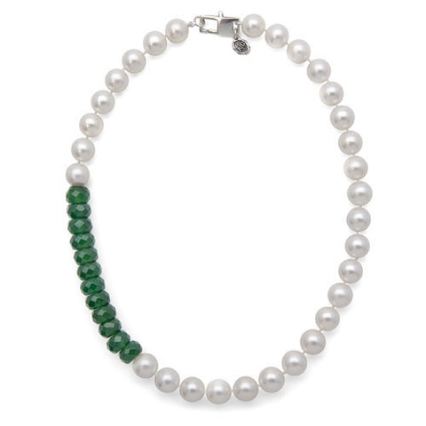 "16"" Green Onyx & WhiteFreshwater Pearl Color Block Necklace"