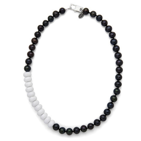 "16"" White Jade & BlackFreshwater Pearl Color Block Necklace"
