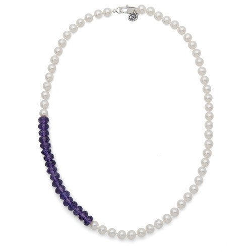 "18"" Amethyst & White Freshwater Pearl Color Block Necklace"