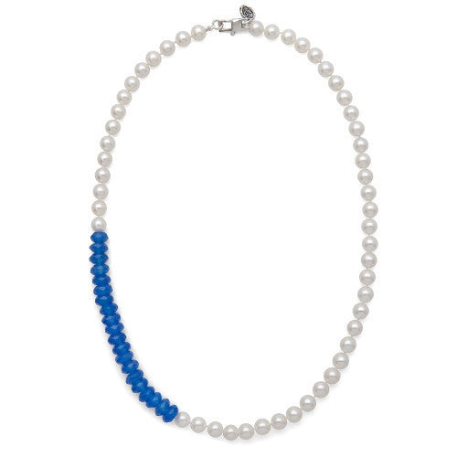 "18"" Blue Jade & White Freshwater Pearl Color Block Necklace"
