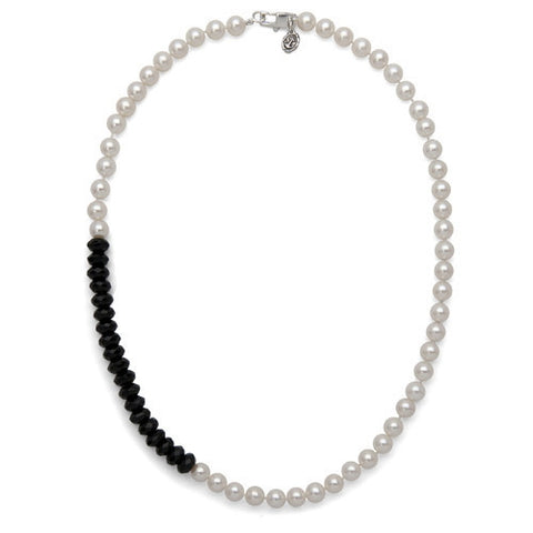 "18"" Black Onyx & White Freshwater Pearl Color Block Necklace"